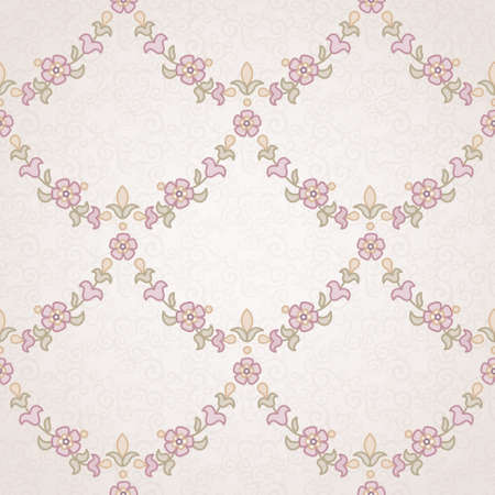 Vector seamless floral pattern in Eastern style. Pastel monochrome element for design. Ornamental lace tracery on light background. Ornate floral decor for wallpaper. Endless vintage texture. Pink pattern fill. Vector