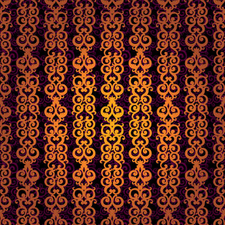 Vector seamless pattern with swirls and floral motifs in retro style. Golden scroll work background. It can be used for wallpaper, pattern fills, web page background, surface textures, classic fabric. Vector