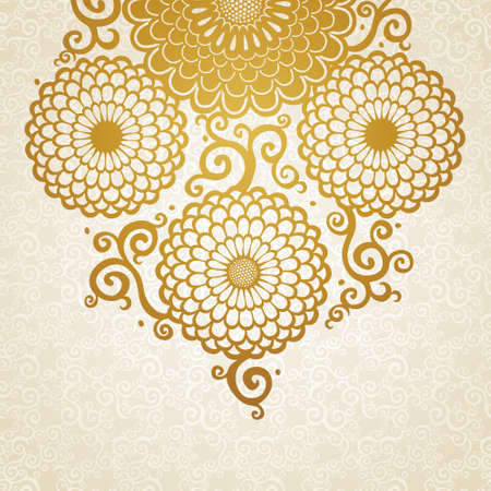 lacy: Golden pattern with large flowers and curls. Blue floral background. It can be used for decorating of wedding invitations, greeting cards, decoration for bags and clothes. Illustration
