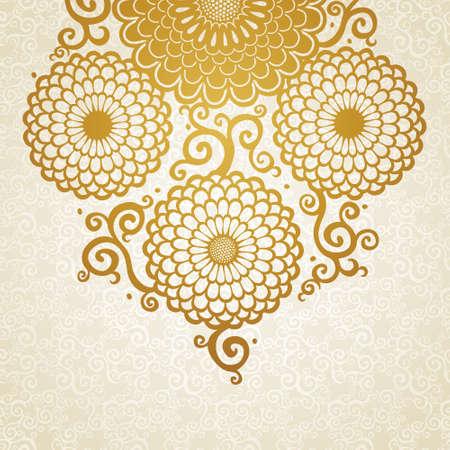 espiral: Modelo de oro con grandes flores y rizos. Fondo floral azul. Puede ser utilizado para la decoraci�n de las invitaciones de boda, tarjetas de felicitaci�n, decoraci�n de bolsas y ropa.
