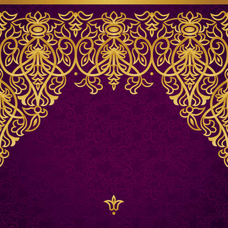 baroque frame: Vector seamless border in Victorian style. Element for design. Place for your text. Gold pattern. It can be used for decorating of wedding invitations, greeting cards, decoration for bags and clothes. Illustration