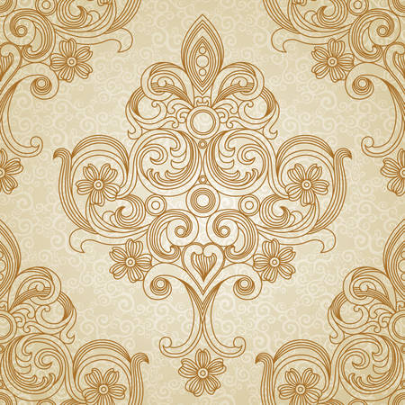 Vector seamless pattern in Victorian style. Element for design. Place for your text. It can be used for wallpaper, pattern fills, web page background, surface textures, classic fabric. Vettoriali