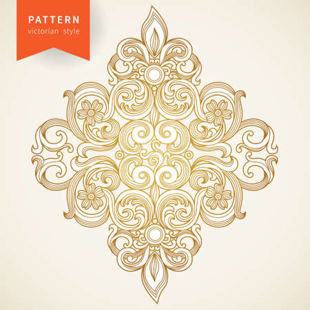 Vector baroque ornament in Victorian style. Ornate element for design. Toolkit for designer. It can be used for decorating of wedding invitations, greeting cards, decoration for bags and clothes. Vettoriali