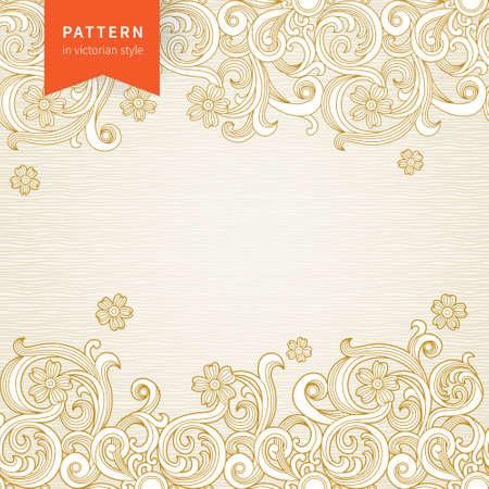friso: Vector adornado patrón floral en estilo victoriano. Elemento para el diseño. Fondo ornamental. Puede ser utilizado para la decoración de las invitaciones de boda, tarjetas de felicitación, decoración de bolsas y ropa. Vectores