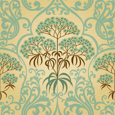 victorian wallpaper: Traditional floral pattern in retro style. Ornamental wallpaper. Background in Victorian style. It can be used for wallpaper, pattern fills, web page background, surface textures, classic fabric. Illustration