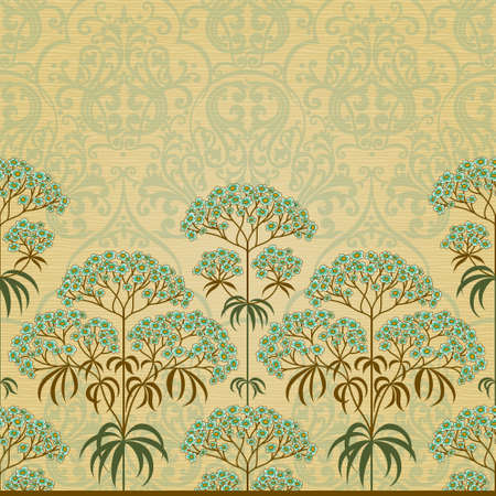 victorian fashion: Traditional floral border in Victorian style. Place for text. Ornamental wallpaper in retro style. It can be used for wallpaper, pattern fills, web page background, surface textures, classic fabric.