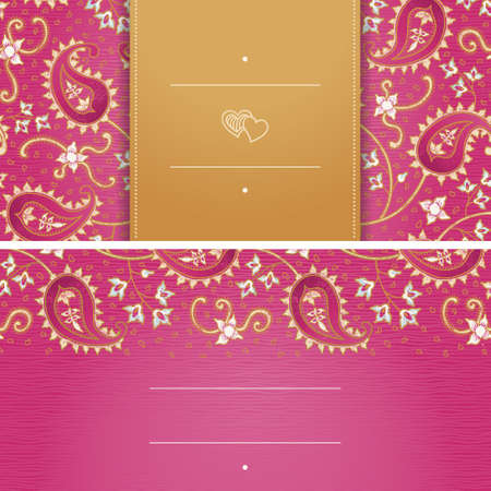 place card: Vintage greeting cards with swirls and floral motifs in east style. Bright background in persian style.Template design for wedding invitation.You can place your text in the empty frame. Save the date.
