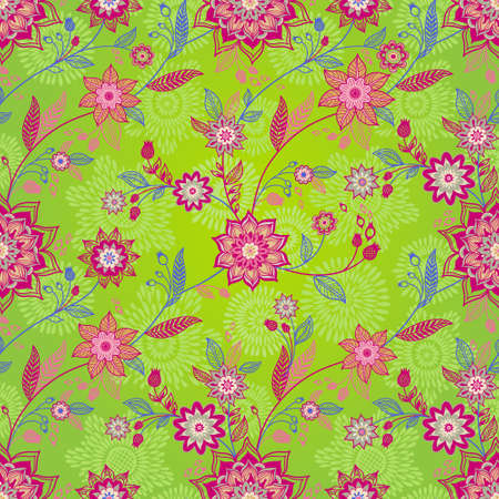 herb garden: Bright spring seamless pattern with flowers and leaves. Ornamental wallpaper. It can be used for wallpaper, pattern fills, web page background, surface textures, classic fabric. Illustration