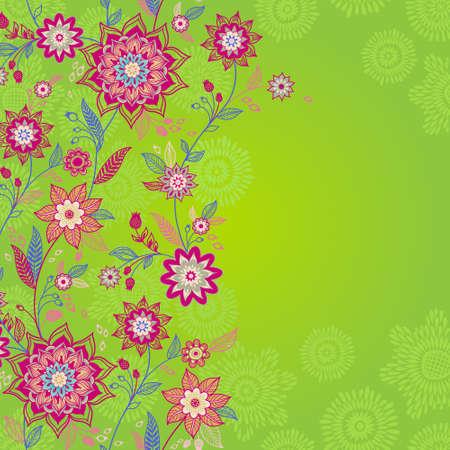 friso: Brillante primavera frontera transparente con flores y hojas. Lugar para el texto. Papel pintado ornamental. Puede ser utilizado para la decoración de las invitaciones de boda, tarjetas de felicitación, decoración de bolsas y ropa. Vectores
