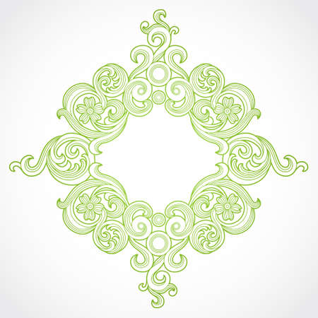 arabic motif: Vector ornate frame in Victorian style. Decorative element for design and place for text. Ornamental vintage pattern for wedding invitations and greeting cards.Traditional green decor on light background.