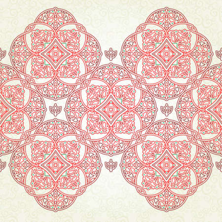 Vector seamless border in Eastern style. Ornate element for design and place for text. Ornamental lace pattern for wedding invitations and greeting cards.Traditional red decor on light background.