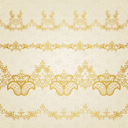eastern religion: Vector floral border in Eastern style. Ornate element for design and place for text. Ornamental lace pattern for wedding invitations and greeting cards. Traditional gold decor on light background.