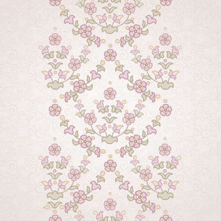Vector floral border in Eastern style. Ornate element for design and place for text. Ornamental lace pattern for wedding invitations and greeting cards. Traditional pastel decor on light background. Illustration