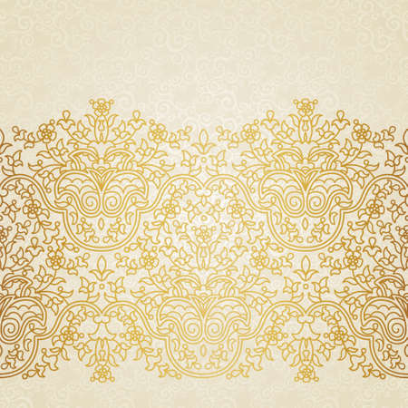 Vector floral border in Eastern style. Ornate element for design and place for text. Ornamental lace pattern for wedding invitations and greeting cards. Traditional gold decor on light background.