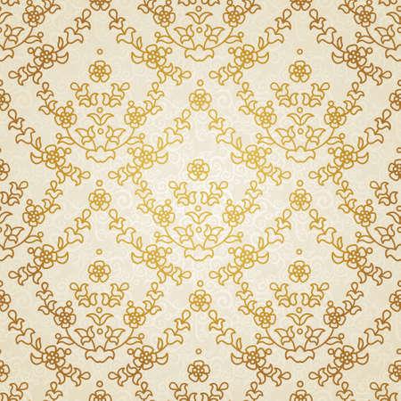 東部のスタイルでのシームレスなパターン ベクトル。設計のためのベージュの白黒要素。明るい背景の装飾的なレース網目模様。華やかな花装飾の