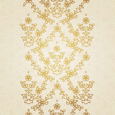 friso: Vector floral frontera en estilo oriental. Adornado elemento para el diseño y el lugar de texto. Patrón de encaje ornamental para las invitaciones de boda y tarjetas de felicitación. Decoración de oro tradicional sobre fondo claro.