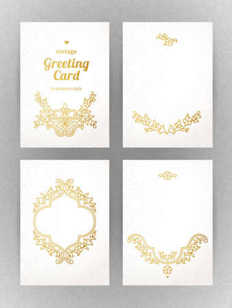 Vintage ornate cards in oriental style. Golden Eastern floral decor. Template frame for greeting card and wedding invitation. Ornate vector border and place for your text. Vector