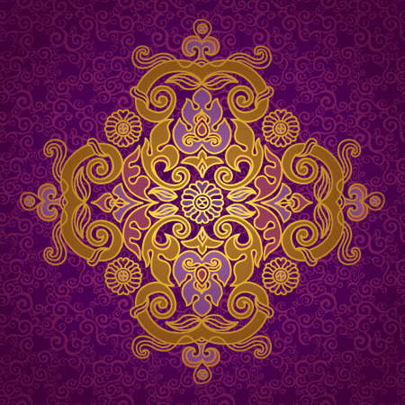 scroll work: Vector vintage pattern in Eastern style on scroll work background. Ornate element for design. Ornamental pattern for wedding invitations, greeting cards. Traditional golden decor. Illustration