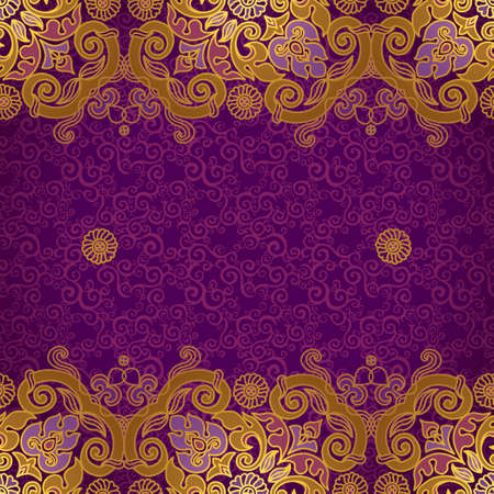 oriental background: Vector floral border in Eastern style. Ornate element for design and place for text. Ornamental vintage pattern for wedding invitations and greeting cards. Traditional gold decor on purple background.