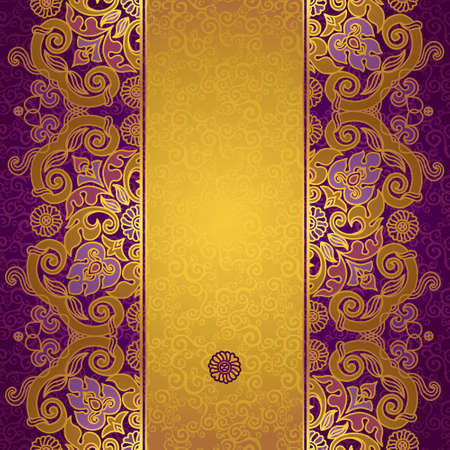 oriental: Vector floral border in Eastern style. Ornate element for design and place for text. Ornamental vintage pattern for wedding invitations and greeting cards. Traditional gold decor on purple background.