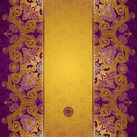friso: Vector floral frontera en estilo oriental. Adornado elemento para el diseño y el lugar de texto. Vintage patrón ornamental para las invitaciones de boda y tarjetas de felicitación. Decoración de oro tradicional sobre fondo morado. Vectores