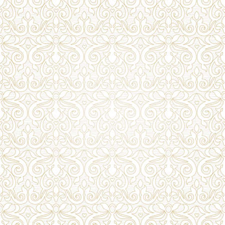 victorian wallpaper: Vector seamless pattern in Victorian style. Beige monochrome element for design. Ornamental vintage tracery. Ornate floral decor for wallpaper. Endless vintage texture. Light pattern fill. Illustration