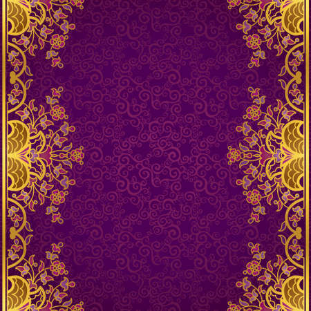 victorian border: Vector floral border in Eastern style. Ornate element for design and place for text. Ornamental vintage pattern for wedding invitations and greeting cards. Traditional gold decor on purple background.