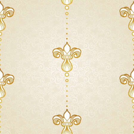 victorian wallpaper: Vector seamless pattern in Victorian style. Golden vintage element for design. Ornamental vintage tracery. Ornate floral decor for wallpaper. Endless vintage texture. Light pattern fill.
