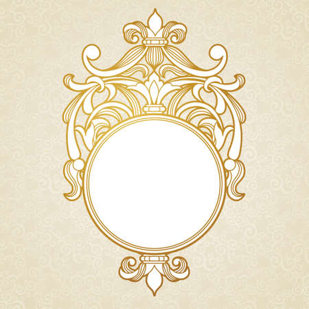 motif: Filigree vector frame in Victorian style. Ornate element for design, place for text. Ornamental golden pattern for wedding invitations and greeting cards.Traditional vintage floral decor.
