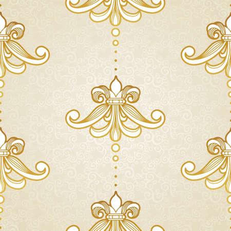 ビクトリア朝様式のシームレスなパターン ベクトル。デザインの黄金のビンテージ要素です。装飾用ビンテージ網目模様。華やかな花装飾のための