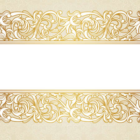 baroque frame: Vector floral border in Victorian style. Ornate element for design and place for text. Ornamental vintage pattern for wedding invitations and greeting cards. Traditional golden decor on light background. Illustration