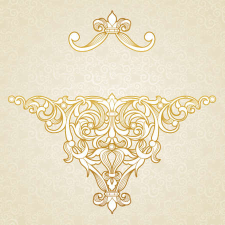 scroll work: Vector floral pattern in Victorian style on scroll work background. Ornate element for design. Place for text. Ornamental vintage illustration for wedding invitations, greeting cards. Traditional outline decor. Illustration