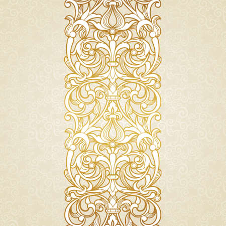 Vector floral border in Victorian style. Ornate element for design and place for text. Ornamental vintage pattern for wedding invitations and greeting cards. Traditional golden decor on light background. Illustration