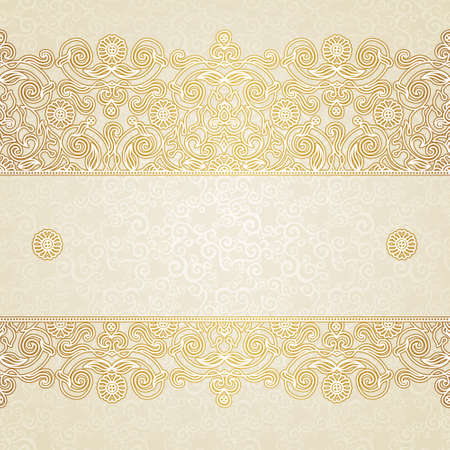 Vector floral border in Eastern style. Ornate element for design and place for text. Ornamental vintage pattern for wedding invitations and greeting cards. Traditional golden decor on light background.