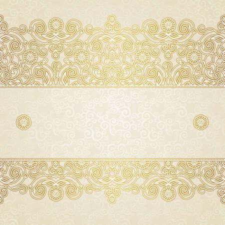 Vector bloemen grens in Oost-stijl. Overladen element voor ontwerp en plaats voor tekst. Sier vintage patroon voor bruiloft uitnodigingen en wenskaarten. Traditionele gouden decor op lichte achtergrond.