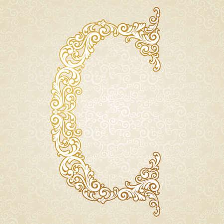 tipos de letras: Carta tipo de fuente de la C, en mayúsculas. Vector elemento barroco de alfabeto de oro de época hechos de rizos y motivos florales. Elemento ABC victoriana en el vector.