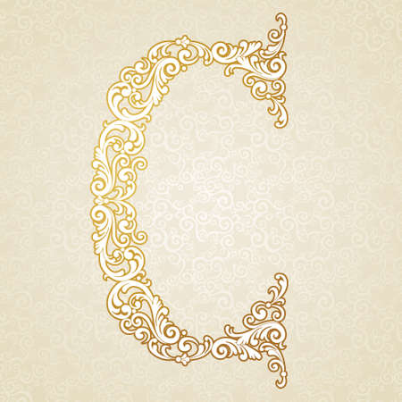 Gold font type letter C, uppercase. Vector baroque element of golden vintage alphabet made from curls and floral motifs. Victorian ABC element in vector. Illustration