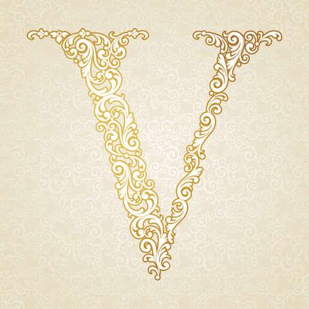 letter v: Gold font type letter V, uppercase. Vector baroque element of golden vintage alphabet made from curls and floral motifs. Victorian ABC element in vector. Illustration