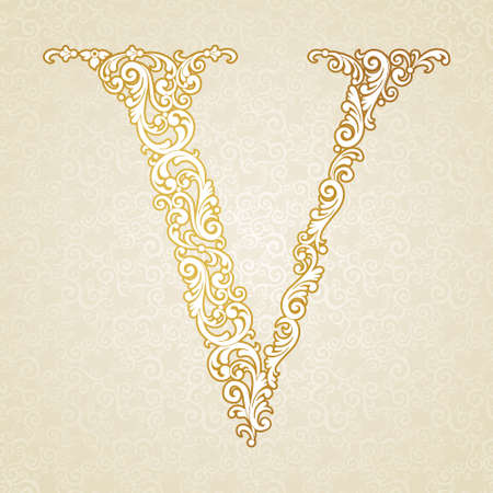 Gold font type letter V, uppercase. Vector baroque element of golden vintage alphabet made from curls and floral motifs. Victorian ABC element in vector. Illustration