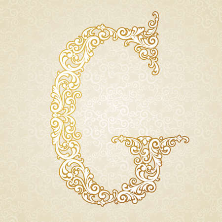 gold font: Gold font type letter G, uppercase. Vector baroque element of golden vintage alphabet made from curls and floral motifs. Victorian ABC element in vector.