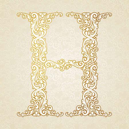Gold Schriftart Buchstaben H, Großbuchstaben. Vector barocke Element des goldenen Jahrgang Alphabet von Locken und Blumenmotiven gemacht. Victorian ABC Element im Vektor. Standard-Bild - 36012485