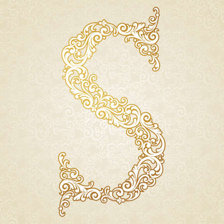 Gold font type letter S, uppercase. Vector baroque element of golden vintage alphabet made from curls and floral motifs. Victorian ABC element in vector. Illustration