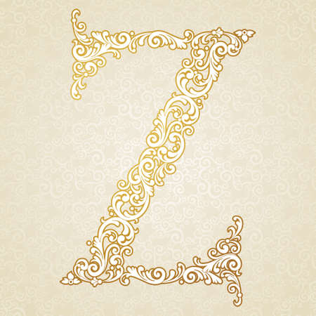 Gold font type letter Z, uppercase. Vector baroque element of golden vintage alphabet made from curls and floral motifs. Victorian ABC element in vector.