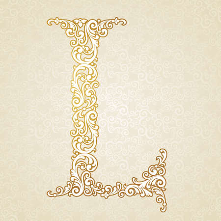 letters gold: Gold font type letter L, uppercase. Vector baroque element of golden vintage alphabet made from curls and floral motifs. Victorian ABC element in vector.