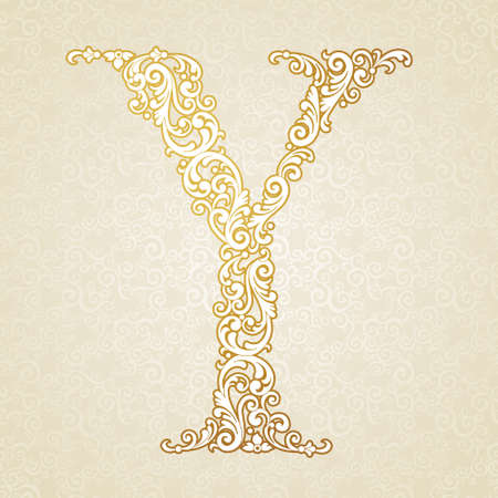 gold font: Gold font type letter Y, uppercase. Vector baroque element of golden vintage alphabet made from curls and floral motifs. Victorian ABC element in vector. Illustration