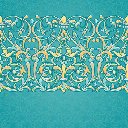 Vector floral border in Victorian style. Ornate element for design and place for text. Ornamental vintage pattern for wedding invitations and greeting cards. Traditional colorful decor on turquoise background. Vector
