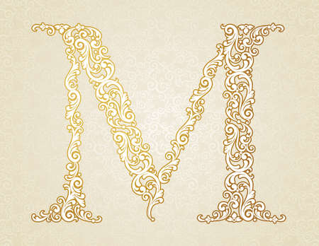 Gold font type letter M, uppercase. Vector baroque element of golden vintage alphabet made from curls and floral motifs. Victorian ABC element in vector.