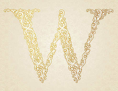 w: Gold font type letter W, uppercase. Vector baroque element of golden vintage alphabet made from curls and floral motifs. Victorian ABC element in vector.