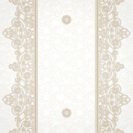 Vector bloemen grens in Oost-stijl. Overladen element voor ontwerp en plaats voor tekst. Sier vintage patroon voor bruiloft uitnodigingen en wenskaarten. Traditionele beige decor op lichte achtergrond.