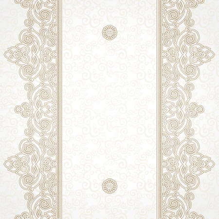 baroque background: Vector floral border in Eastern style. Ornate element for design and place for text. Ornamental vintage pattern for wedding invitations and greeting cards. Traditional beige decor on light background. Illustration